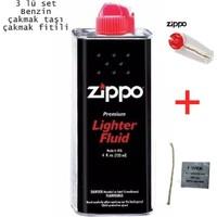 Zippo Çakmak Benzini+Fitil+Çakmak Taşı Set