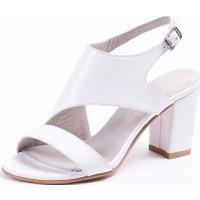 Tarçın Deri Beyaz Klasik Günlük Kadın Topuklu Ayakkabı Trc71-0117