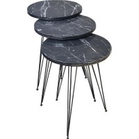 Hepsi Home Zigon Sehpa Metal Ayak 3lü Servis Sehpası Siyah Mermer Desen