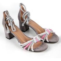 Gökhan Talay Babe Renkli Halatlı Kısa Topuk Kadın Sandalet