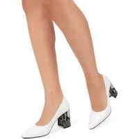 Gökhan Talay İvory Topuk Detaylı Beyaz Stiletto Ayakkabı