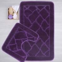 Mecra Tekstil Banyo Seti 2'Li Klozet Takımı Jel Tabanlı Mor 50 x 80 cm