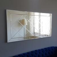 Neostill-Dekoratif Baklava Desenli Duvar Salon Ayna A306-Y