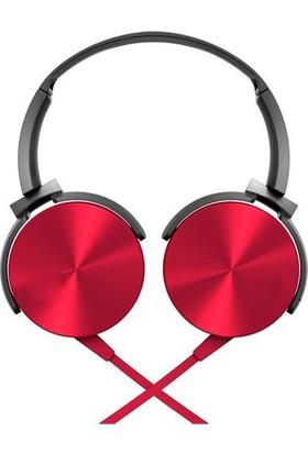 Case 4U Extra Bass Mikrofonlu Kulaküstü Stereo Kulaklık 3.5mm - Kırmızı - MDR-XB450AP