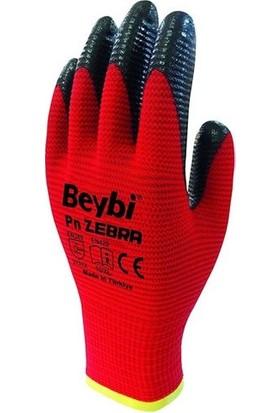 Beybi Zebra Nitril Kaplama Örme Eldiven Kırmızı 10 Çift