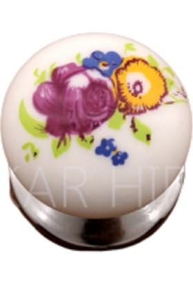 Azm Porselen Görünümlü Kulp Krom Desenli Düğme