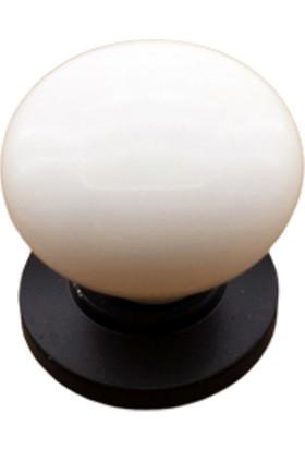 Azm Porselen Görünümlü Kulp Siyah Düz Düğme