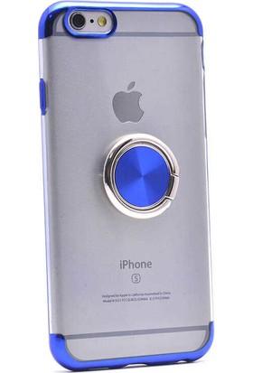 Makt Apple iPhone 6/6s Glitter Gess Silikon Ring Kılıf Mavi