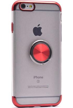 Makt Apple iPhone 6/6s Glitter Gess Silikon Ring Kılıf Kırmızı