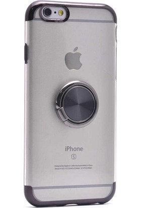 Makt Apple iPhone 6/6s Glitter Gess Silikon Ring Kılıf Siyah