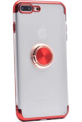 Makt Apple iPhone 7 Plus Glitter Gess Silikon Ring Kılıf Kırmızı