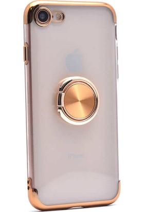 Makt Apple iPhone 8 Glitter Gess Silikon Ring Kılıf Gold