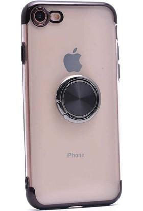 Makt Apple iPhone 8 Glitter Gess Silikon Ring Kılıf Siyah