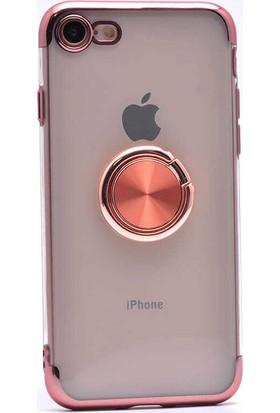 Makt Apple iPhone 8 Glitter Gess Silikon Ring Kılıf Rose Gold