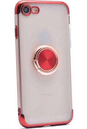 Makt Apple iPhone 8 Glitter Gess Silikon Ring Kılıf Kırmızı