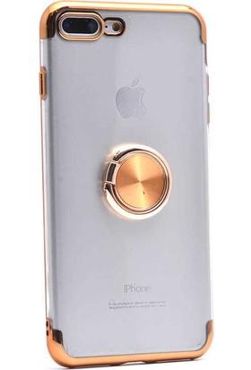 Makt Apple iPhone 8 Plus Glitter Gess Silikon Ring Kılıf Gold