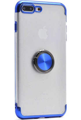 Makt Apple iPhone 8 Plus Glitter Gess Silikon Ring Kılıf Mavi