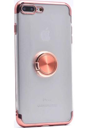 Makt Apple iPhone 8 Plus Glitter Gess Silikon Ring Kılıf Rose Gold