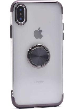 Makt Apple iPhone X Glitter Gess Silikon Ring Kılıf Siyah