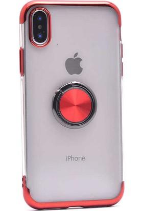 Makt Apple iPhone X Glitter Gess Silikon Ring Kılıf Kırmızı