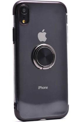 Makt Apple iPhone XR Glitter Gess Silikon Ring Kılıf Siyah