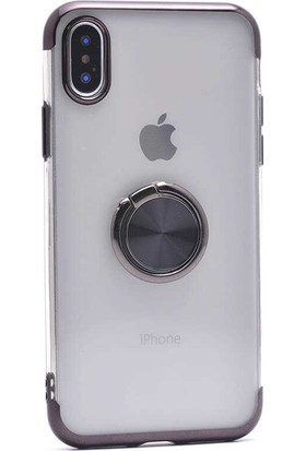 Makt Apple iPhone XS Max Glitter Gess Silikon Ring Kılıf Siyah