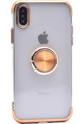 Makt Apple iPhone XS Max Glitter Gess Silikon Ring Kılıf Gold