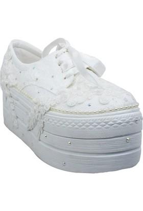Merve Beyaz Kalın Dolgulu Spor Gelin Ayakkabısı