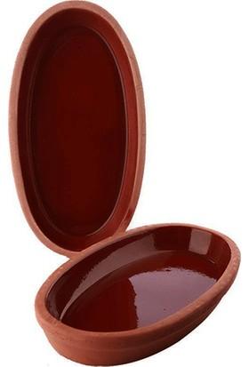 Doğa Çömlekcilik Toprak Içi Sırlı 27 cm Oval Güveç Tava-2 Li