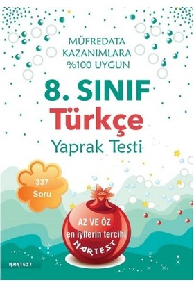 Nartest 8. Sınıf Türkçe Yaprak Test- Yeni Müfredat