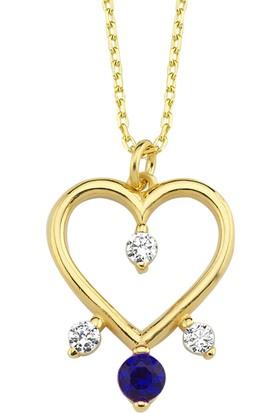Altınsepeti Altın Safir Rengi Taşlı Kalp Kolye AS1492KLR3
