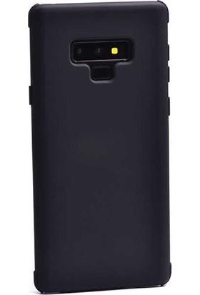 Ehr. Samsung Galaxy Note 9 Kılıf Mat Süet Kaplama Silikon Kılıf + Nano Ekran Koruyucu Cam Siyah