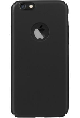 Ehr. Apple iPhone 6s Plus Kılıf Kauçuk Sert Arka Kapak Rubber Kılıf + Nano Ekran Koruyucu Cam Siyah