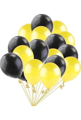 Balon Evi 25 Adet Metalik (Civciv Sarısı-Siyah) Karışık Balon Helyumla Uçan