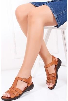 Tarçın Deri Taba Günlük Kadın Sandalet Ayakkabı Trc119-0151