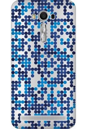 Cupcase Asus Zenfone 2 Laser (ZE550KL) Kılıf Desenli Silikon Kapak + Nano Glass Cam - Mavi Benekler