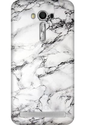 Cupcase Asus Zenfone 2 Laser (ZE550KL) Kılıf Desenli Silikon Kapak + Nano Glass Cam - Banyo Mermer
