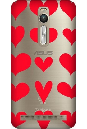 Cupcase Asus Zenfone 2 (ZE551ML) Kılıf Desenli Silikon Kapak + Nano Glass Cam - Kırmızı Kalpler