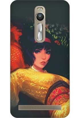 Cupcase Asus Zenfone 2 (ZE551ML) Kılıf Desenli Silikon Kapak + Nano Glass Cam - Anime Kız MS