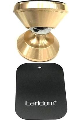 Earldom Araç İçi Çift Manyetik Mıknatıslı Telefon Tutucu - Torpido Üstü - Ayarlanabilir Metal Başlık Altın