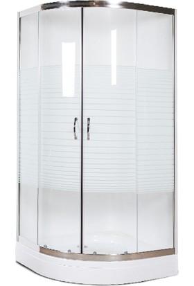 Durul Duşakabin 100 x 100 cm Oval Çizgili Desen Duş Teknesiz