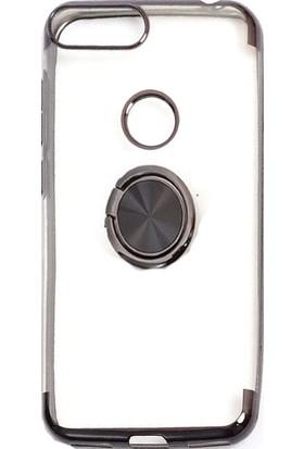 KNY Alcatel 1S Kılıf 4 Köşe Renkli Şeffaf Yüzüklü Gess Silikon + Cam Ekran Koruyucu Siyah