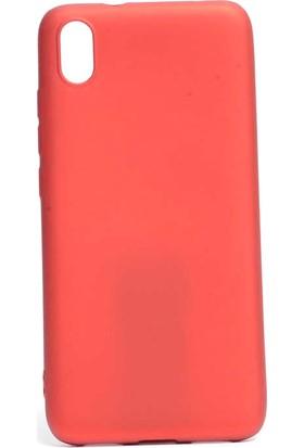 KNY Xiaomi Redmi 7A Kılıf Ultra İnce Mat Silikon + Nano Cam Ekran Koruyucu Kırmızı