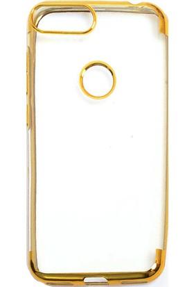 Happyshop Alcatel 1S Kılıf 4 Köşe Renkli Şeffaf Laser Silikon + Cam Ekran Koruyucu Gold