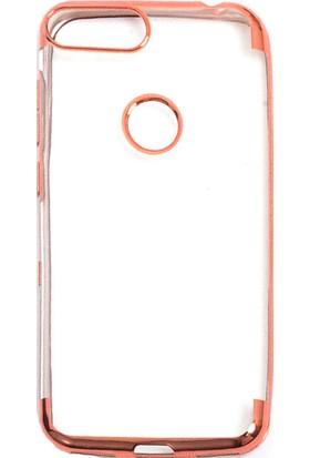 Happyshop Alcatel 1S Kılıf 4 Köşe Renkli Şeffaf Laser Silikon + Cam Ekran Koruyucu Rose Gold