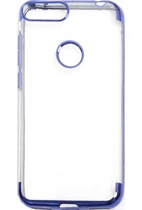 Happyshop Alcatel 1S Kılıf 4 Köşe Renkli Şeffaf Laser Silikon + Nano Cam Ekran Koruyucu Mavi
