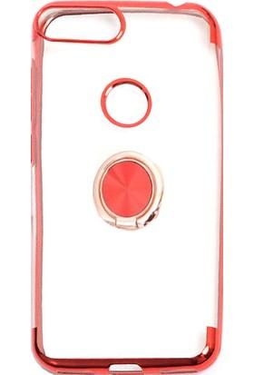 Happyshop Alcatel 1S Kılıf 4 Köşe Renkli Şeffaf Yüzüklü Gess Silikon + Cam Ekran Koruyucu Kırmızı