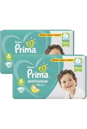 Prima Süper Fırsat Paketi 6 Numara 50*2=100 Adet Bebek Bezi