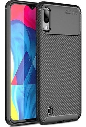 Redclick Samsung Galaxy A10 Kılıf Karbon Desenli Lux Negro Silikon Siyah + Cam Ekran Koruyucu