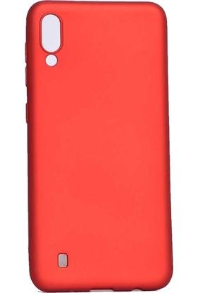 Redclick Samsung Galaxy M10 Mat Premium Silikon Kılıf Kırmızı + Cam Ekran Koruyucu